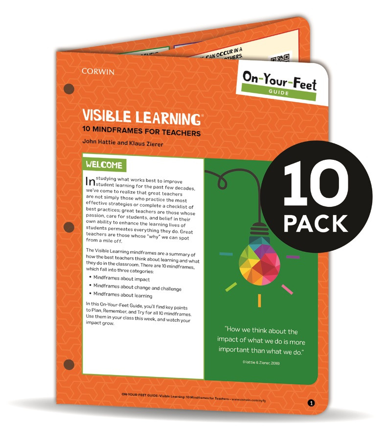 BUNDLE Hattie On-Your-Feet Guide Visible Learning 10 Mindframes for Teachers 10 Pack
